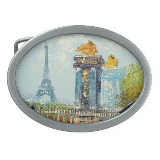 Pintura de la escena de la torre Eiffel de París Hebillas De Cinturón Ovales