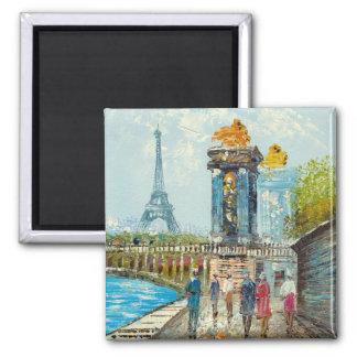 Pintura de la escena de la torre Eiffel de París Imanes Para Frigoríficos