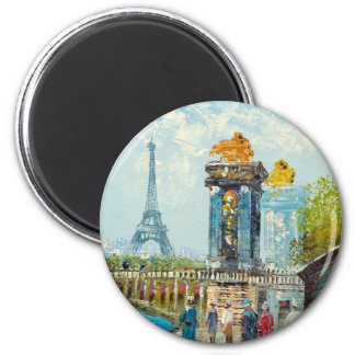 Pintura de la escena de la torre Eiffel de París Iman