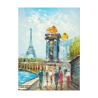Pintura de la escena de la torre Eiffel de París Impresion En Lona