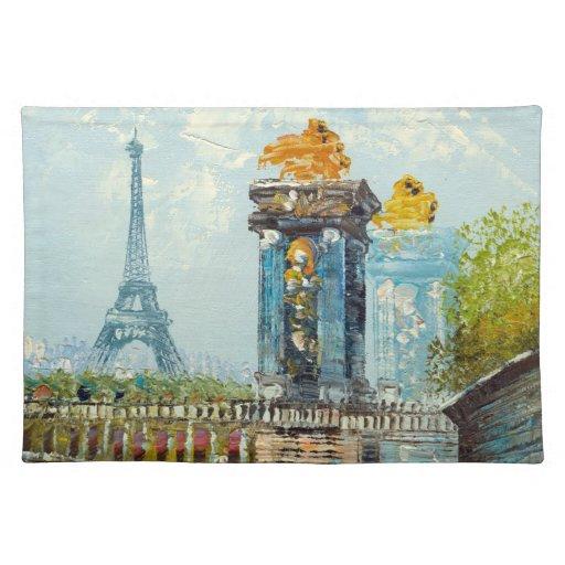 Pintura de la escena de la torre Eiffel de París Manteles Individuales