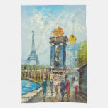 Pintura de la escena de la torre Eiffel de París Toalla De Cocina