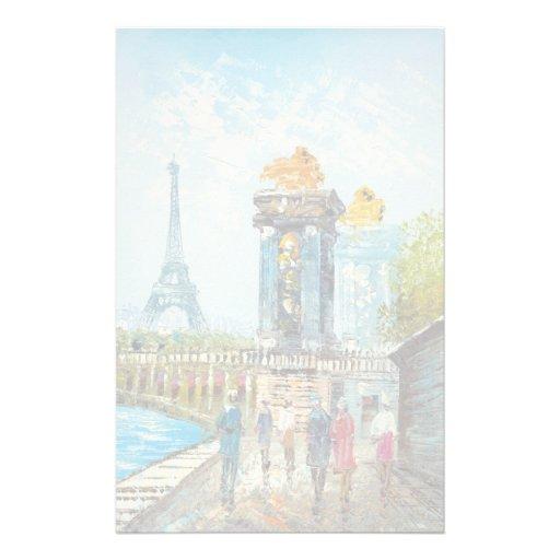 Pintura de la escena de la torre Eiffel de París Papeleria De Diseño