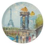 Pintura de la escena de la torre Eiffel de París Plato De Comida