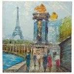 Pintura de la escena de la torre Eiffel de París Servilletas De Papel
