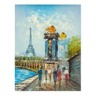 Pintura de la escena de la torre Eiffel de París Tarjetas Postales