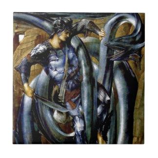 Pintura de la espada de la lucha del dragón del ho azulejo cuadrado pequeño