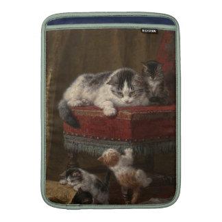 Pintura de la familia de gatos fundas macbook air