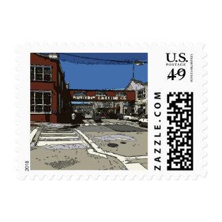 Pintura de la fila de la fábrica de conservas de sellos