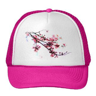 Pintura de la flor de cerezo gorras