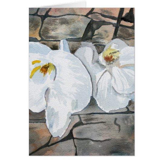pintura de la flor de las orquídeas tarjeta de felicitación