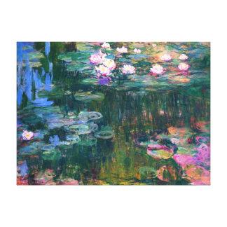 Pintura de la flor de los lirios de agua del impresión en lienzo