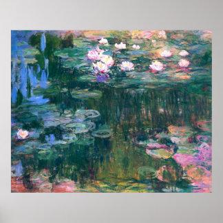 Pintura de la flor del lirio de agua póster