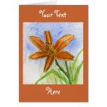 Pintura de la flor del lirio de día tarjetón