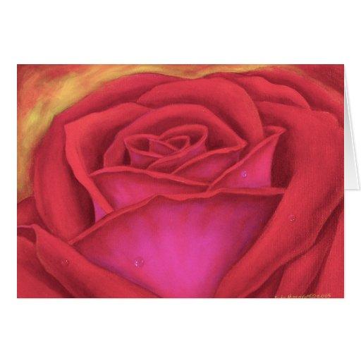 Pintura de la flor del rosa rojo - multi tarjetón
