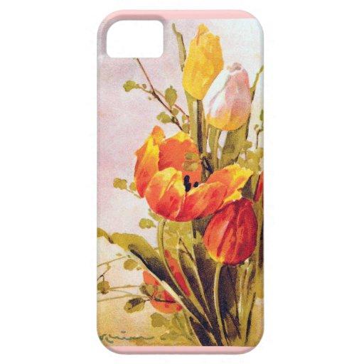 Pintura de la flor del tulipán del vintage iPhone 5 Case-Mate coberturas