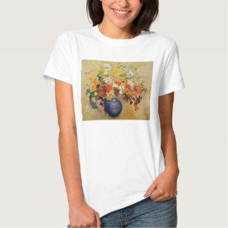 Pintura de la flor del vintage remera