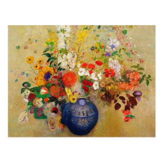 Pintura de la flor del vintage tarjetas postales