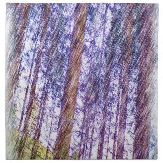 Pintura de la foto del bosque servilleta