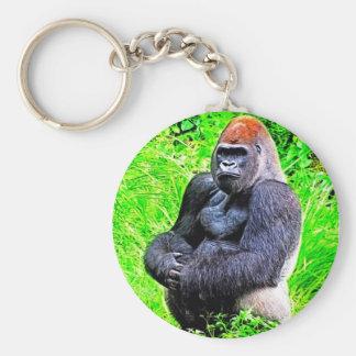 Pintura de la foto del gorila del Silverback Llaveros