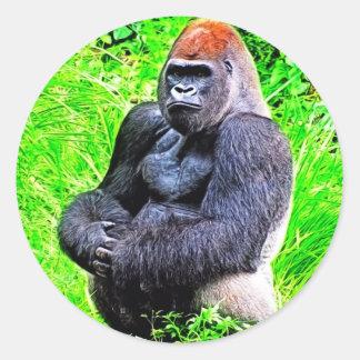 Pintura de la foto del gorila del Silverback Pegatina Redonda