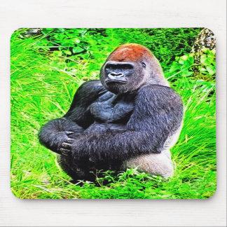Pintura de la foto del gorila del Silverback Tapetes De Ratones