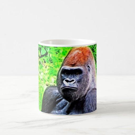 Pintura de la foto del gorila del Silverback Taza Básica Blanca