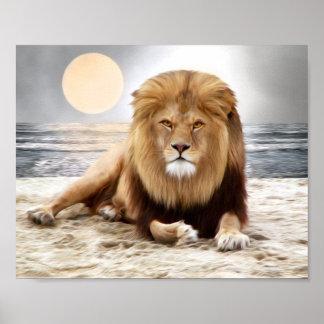 Pintura de la foto del océano del león póster
