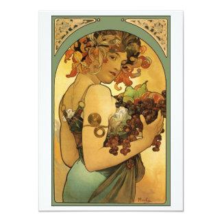 """Pintura de la fruta de Alfonso Mucha Invitación 4.5"""" X 6.25"""""""