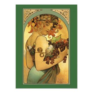"""Pintura de la fruta de Alfonso Mucha Invitación 5.5"""" X 7.5"""""""