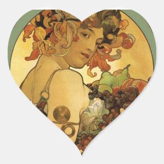 Pintura de la fruta de Alfonso Mucha Colcomanias Corazon