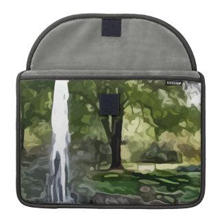 pintura de la fuente del parque fundas para macbook pro