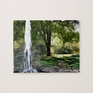 pintura de la fuente del parque puzzle