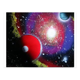 Pintura de la galaxia del espacio del arte de la tarjetas postales