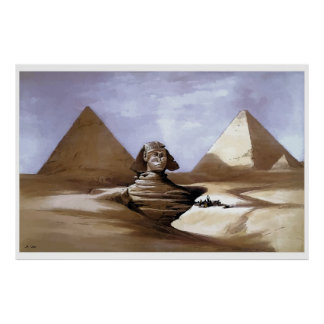 Pintura de la gran esfinge, pirámides de Giza Póster