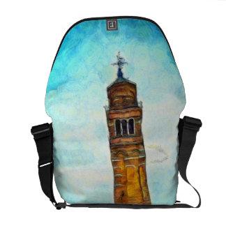 Pintura de la iglesia que se inclina, Venecia Bolsas De Mensajeria