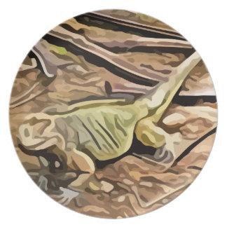 pintura de la iguana platos