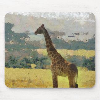 Pintura de la jirafa en la sabana en África Alfombrilla De Ratones