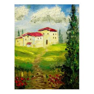Pintura de la ladera de Toscana Postales