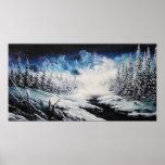 Pintura de la lona de la escena de la nieve de la  posters