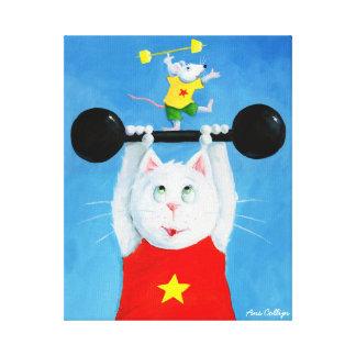 Pintura de la lona del gato y del ratón del entren impresión en tela