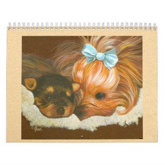 Pintura de la mamá y del perrito de Yorkie Calendario De Pared
