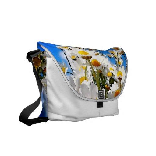 Pintura de la margarita blanca bolsas de mensajeria
