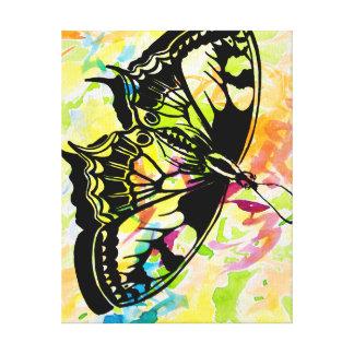 Pintura de la mariposa (amarillo) lona estirada galerias