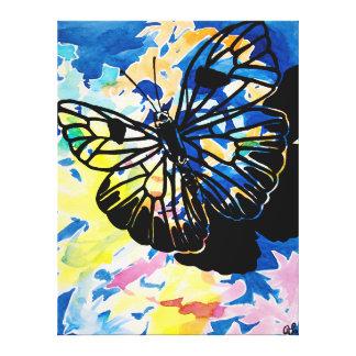 Pintura de la mariposa (azul) impresiones en lona estiradas