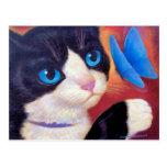 Pintura de la mariposa del gato del smoking - postal