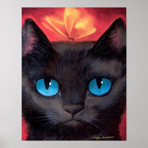 Pintura de la mariposa del gato negro - poster