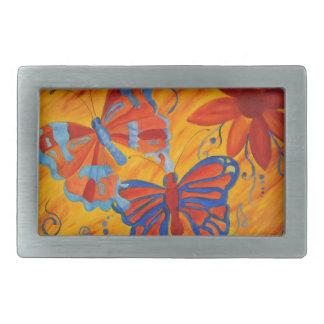 Pintura de la mariposa hebillas de cinturon rectangulares