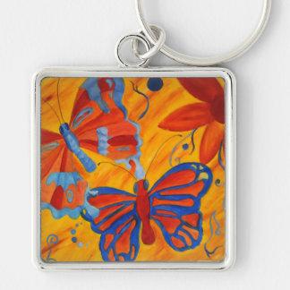 Pintura de la mariposa llavero cuadrado plateado