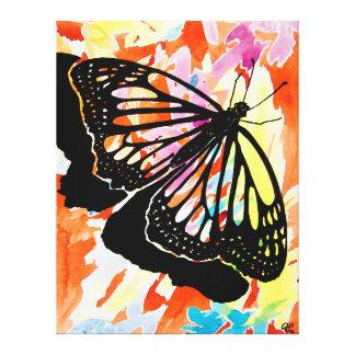 Pintura de la mariposa (naranja) impresión en lona estirada